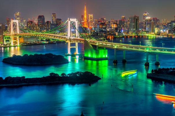 36970369 – tokyo skyline with tokyo tower and rainbow bridge.