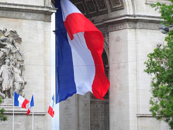 France, Paris, Arc de Triomphe, French flag