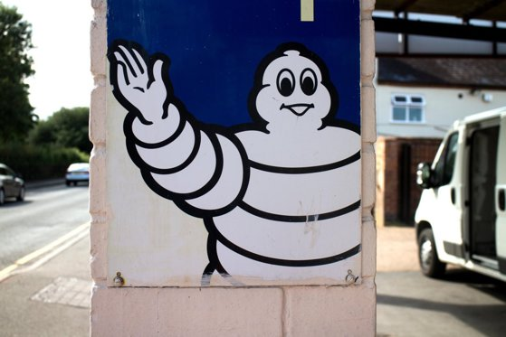 Michelin man sign outside a garage