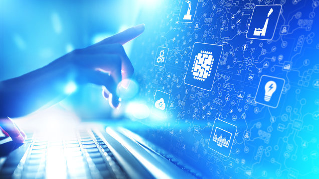 Microchip, artificial intelligence, automation and internet of things (IOT), Digital integration. Business internet and technology concept.